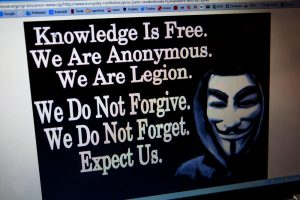 EEFP02 Message screen on a website hacked into by worldwide hacktivist group Anonymous hackers