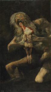 ساتورنس فرزندش را می بلعد ۱۸۲۳، رنگ روغن روی کچ، دیوار خانه مرد ناشنواریال ۹۵x165 سانتی متر