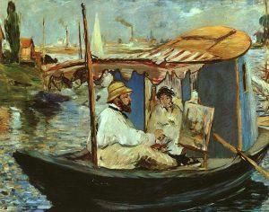 ادوارد مانه، مونه مشغول به کار در قایق خود، ۱۸۷۴، رنگ روغن روی بوم، ۸۲/۷x105 سانتی متر، موزه جدید پیناکوتک مونیخ